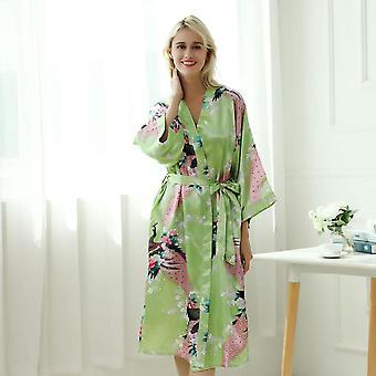 Lady  Japanese Kimono Yukata Dress With Belt Satin Silk Cardigan Pajamas