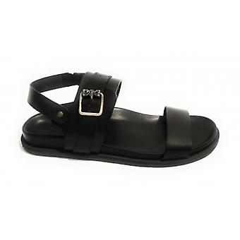 Men's Shoes Elite Sandal Finger In Leather Cow Col. Black Us18el25