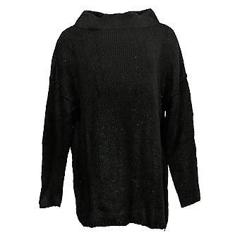 All Worthy Hunter McGrady Women's Sweater Oversized Mock Neck Black A384591