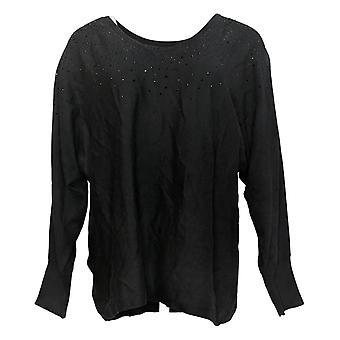 Belle par Kim Gravel Women's Top Long Sleeve With Bling Black A386452