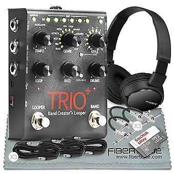 Digitech trio+ bandskapare och inbyggd looper och tillbehörsbunt w/ 16gb + slutna hörlurar + kablar + fibertique trasa