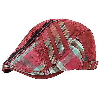 Men's beret cap with stitching stitching plaid forward hat