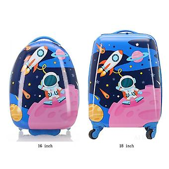 Kid Luggage 16'' Rounded Cartoon Travel Suitcase On Wheels Carry On Trolley Bag