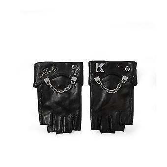 Karl Lagerfeld K/seven Black Leather Gloves