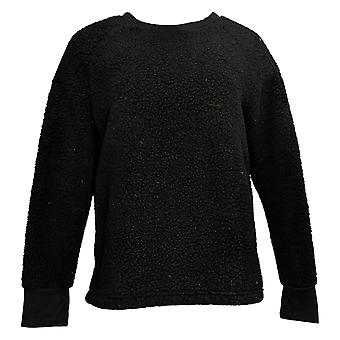 Cuddl Duds Mujeres's Jersey Shaggy Sherpa Pullover Negro A381801