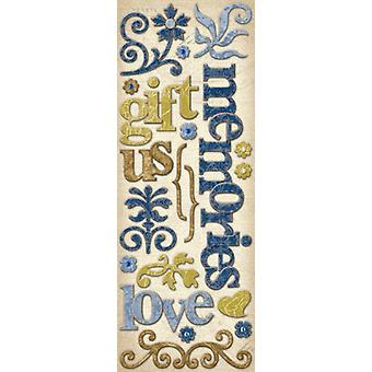 K & Co - Blue Awning Words and Swirls Adhesive Chipboard