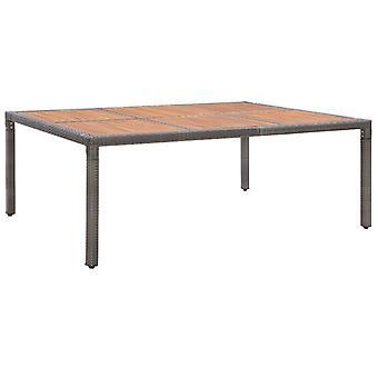 Tavolo da giardino grigio 200x150x74 cm Poly Rattan e legno di acacia
