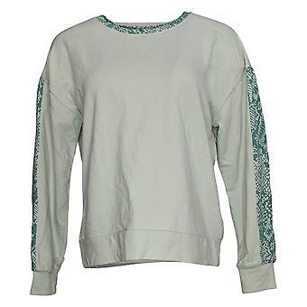 Anybody Women's Sweatshirt Long Sleeve W/ Animal Print Stripe Blue A381288