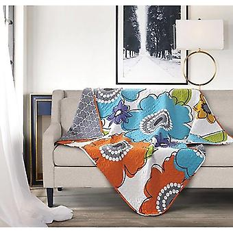 Spura Home Floral Donatella Transitional Quilted Throw