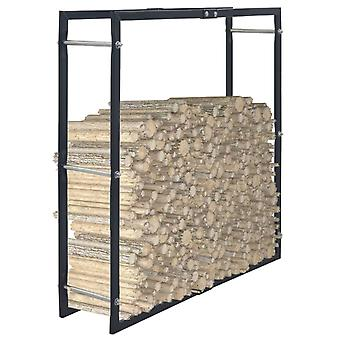 vidaXL Ripiano legna da ardere Nero 100×25×100 cm Acciaio