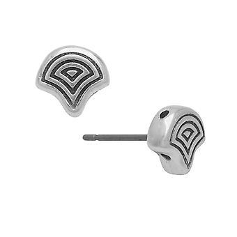 Cymbal ørering innlegg for Ginko perler, Polykarpos, 2-hulls blad 7.5x8mm, 1 par, Antikk Sølvbelagt