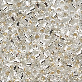 Miyuki Delica Beed Beads, Tamaño 11/0, 7.2 Gramos, Cristal Forrado de Plata DB041