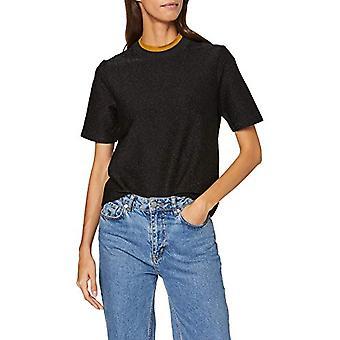 Scotch & Soda Maison Lurex Tee with High Neck T-Shirt, (Black 08), Small Woman