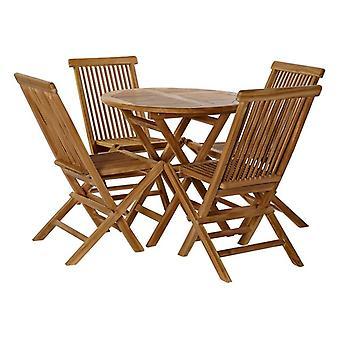 Tischset mit 4 Stühlen DKD Home Decor Teak (5 Stück)