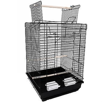 """23"""" Bird Cage Pet dodává kovovou klec s otevřenou hrou s odtahem Další hračky černé"""