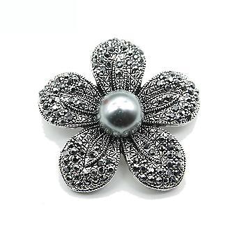 Corsage Black Flower Women Brooch Pearl Brooch Pin