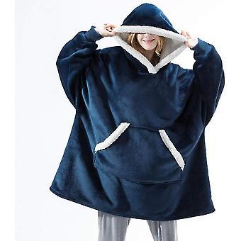 Vrouwen dikke pyjama draagbare lam fluweel luie deken home casual pluche trui met capuchon (blauw)