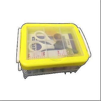 Drie-laags transparante naaidoos naald en draad opslag tool draagbaar (geel)