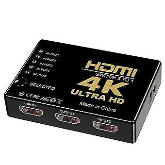 HDMI switcher 5 in 1 uit, hdmi HD video switcher met afstandsbediening, ondersteuning 4K30Hz