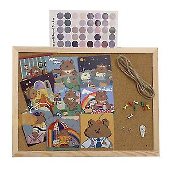 Cork Wood Wall Hanging Message Bulletin Board Frame, Notice, Note, Memo
