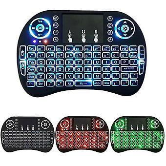 Smart trådløs tastatur LED baggrundsbelyst Touchpad Mouse 3 farver PC Laptop TV Box