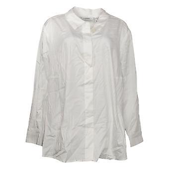Isaac Mizrahi Live! Damen Plus Top Button Down Kragen Shirt Weiß A378608