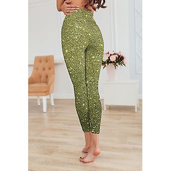Hosiery peridot glitter printed leggings capris