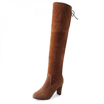 Women Thigh High Boots Over The Knee Stretch Mid Heel Shoes