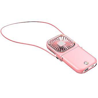 USB Mini handheld colgante cuello ventilador refrigerador de aire 3 engranajes ajustables silencio interior exterior viaje (rosa)