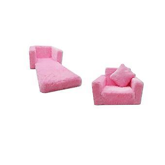 Divano letto per bambini e letto per gli ospiti in uno - 100cm x 36cm x 25cm - peluche rosa