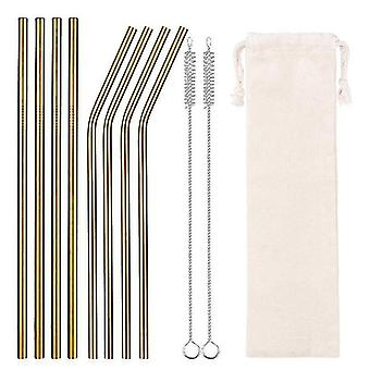 Drinking straws stirrers 8 piece set of reusable eco-friendly drinking straws with storage pouch gold