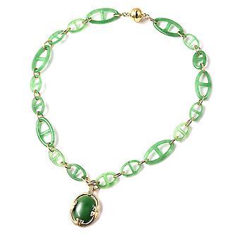 """62,7 ct grüne Jade und natürliche Zirkon Halskette in Gelb gold vergoldet Silber 18"""""""