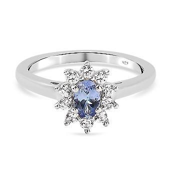 Tansanit Halo Ring Platiniert Silber Jubiläumsgeschenk Weiß Zirkon 0,83ct (M)