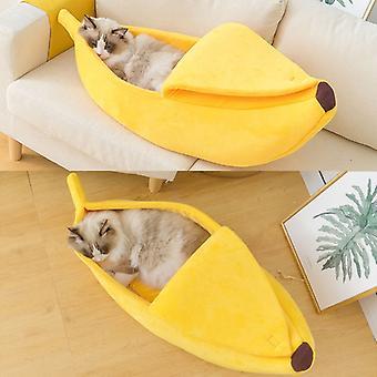 Vicces Banana Cat Bed House Aranyos Cozy Cat Mat ágyak meleg tartós hordozható kisállat kosár kennel kutya párna macska kellékek többszínű