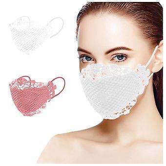 2pc الدانتيل الحساسة applique قابل للغسل وإعادة الاستخدام قناع الوجه الفم