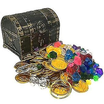 3-Arten-Plastikschatz-Münzen, Captain Piraten Partei Schatz, Brust Münze Spielzeug