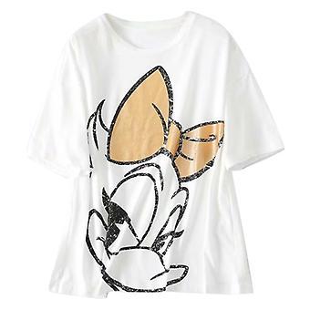 Loose Age-reducing Cartoon Print Lyhythihainen Valkoinen T-paita