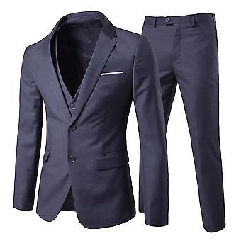 Swotgdoby Men's Solid Color Casual Two-button Suit, Three-piece -- Coat & Vest & Pants