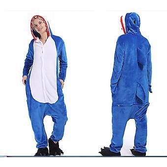 Cartoon Animal Pajamas Grey Shark Lovers Flannel Home Costume