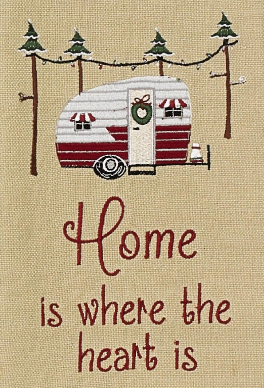 Home is Where the Heart Is Camper Holiday Campground Embroidered Kitchen Towel