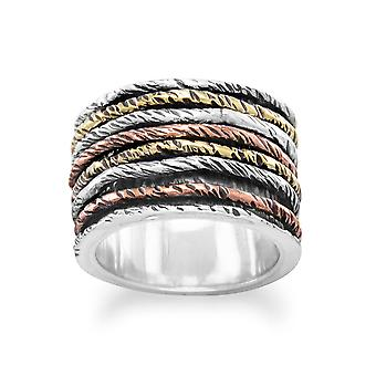 925 Sterling Silver Oxidized Ring With Tri Tone Bands Jewelry Gifts for Women - Ring Size: 6 to 10
