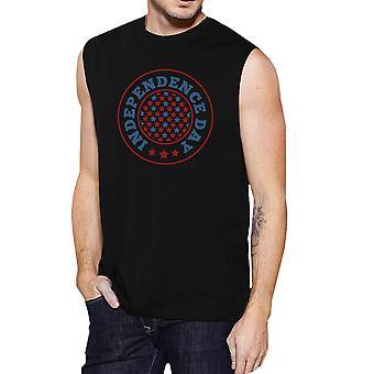 يوم الاستقلال كرونيك أسود القطن العضلات الرسم قميص للرجال