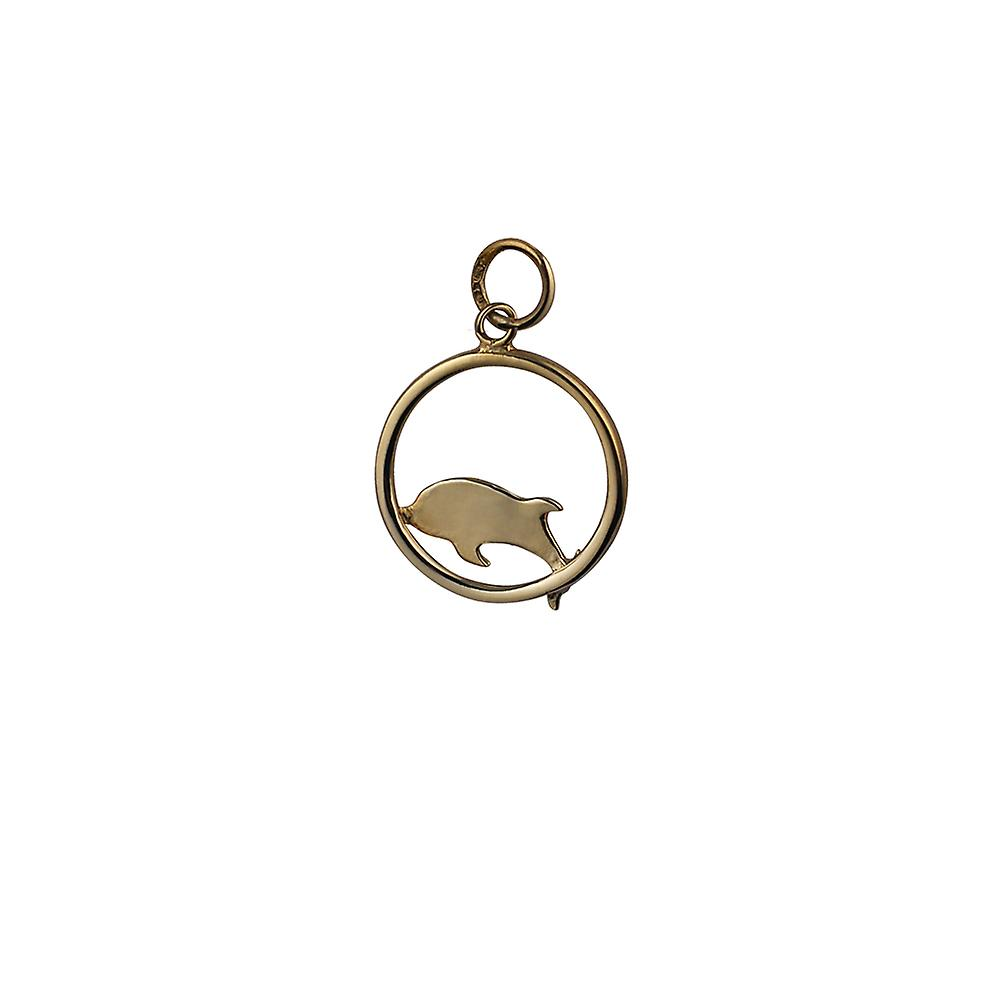 9ct Gold 18x18mm Dolphin jumping to the right in a circle Pendant or Charm