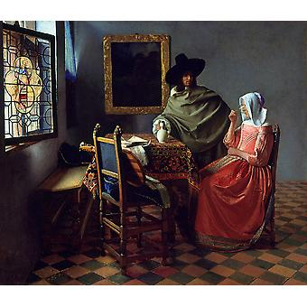 Jan Vermeer - The Glass of Wine Poster Print Giclee