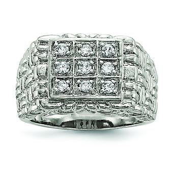 925 Sterling Silver Solid Polished Open back Mens Cubic Zirconia Ring Jewelry Gifts for Men - Ring Size: 9 to 11