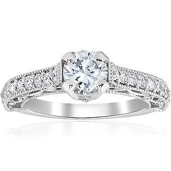 1 3 / 8ct Vintage Diamond Engagement Ring 14K Weissgold