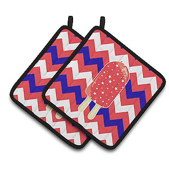 Ice Pop Popsicle Red White Blue Pair of Pot Holders