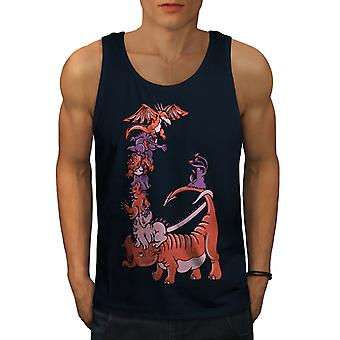 Dessin animé Dragon Fantasy hommes NavyTank Top | Wellcoda