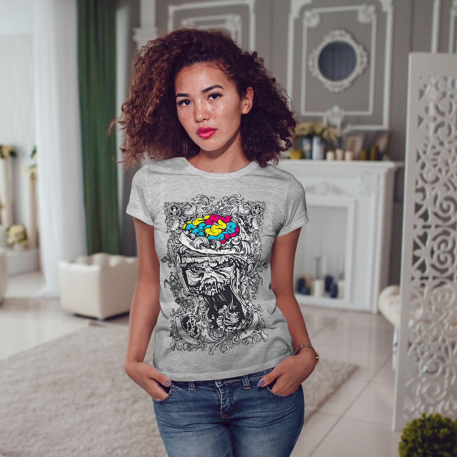 Crâne Face cerveau GreyT-chemise femme   Wellcoda