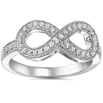 1/3 карата алмазов бесконечности кольцо 10K Белое золото